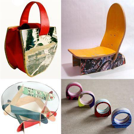 prodotti fatti con vecchie tavole da skateboard