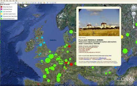 reattori nucleari mappa google earth