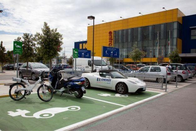 auto elettriche ricarica parcheggi ikea