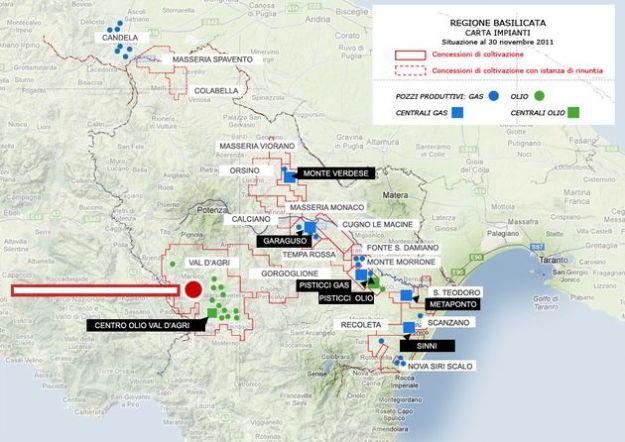 mappa giacimenti petrolio basilicata