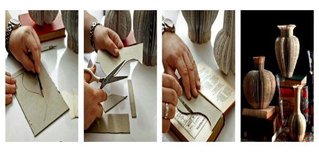 Riciclo creativo vasi decorativi con libri usati