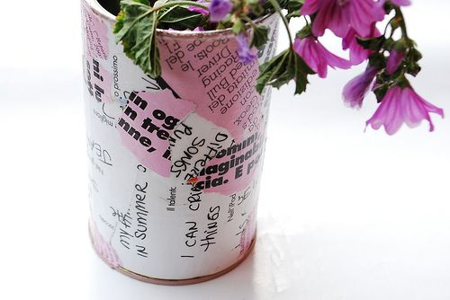 vaso riciclato da latta