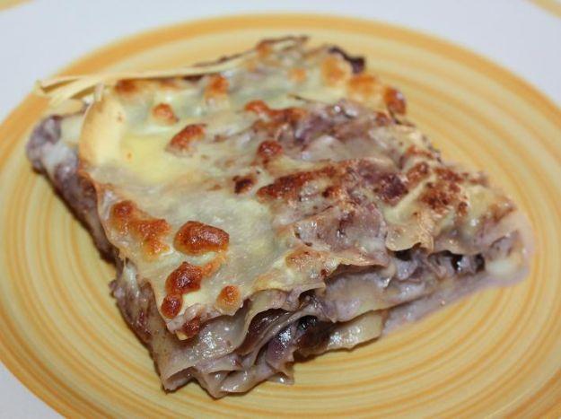 Lasagne con radicchio, noci e castagne