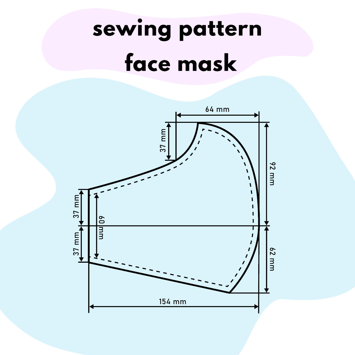 Cartamodello per realizzare una mascherina fai da te in tessuto