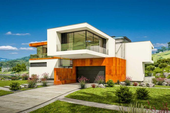 Progetto 3D di una casa passiva in muratura e legno con ampie vetrate