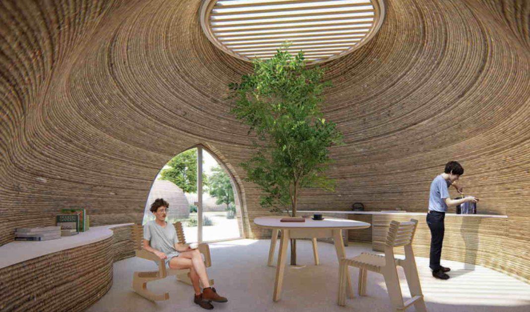 Interno di una casa ecosostenibile in 3d