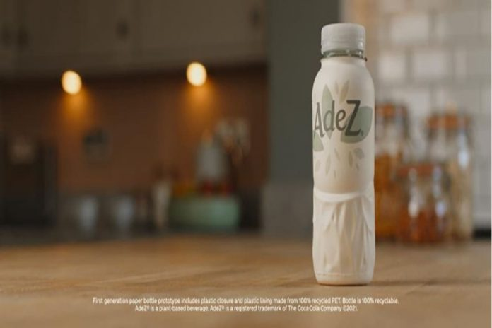 Bottiglia di carta di Adez, bevanda del marchio Coca-Cola