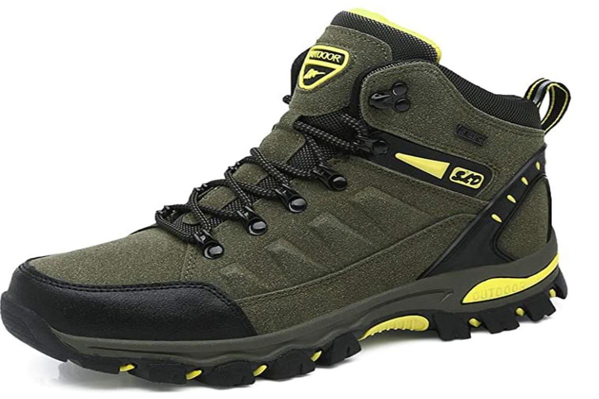 scarpe da trekking grigie con inserti gialli