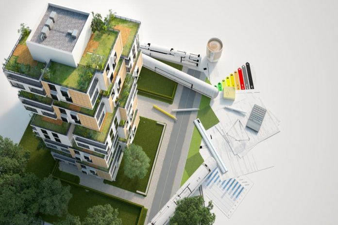 rendering 3d di una casa ecologica