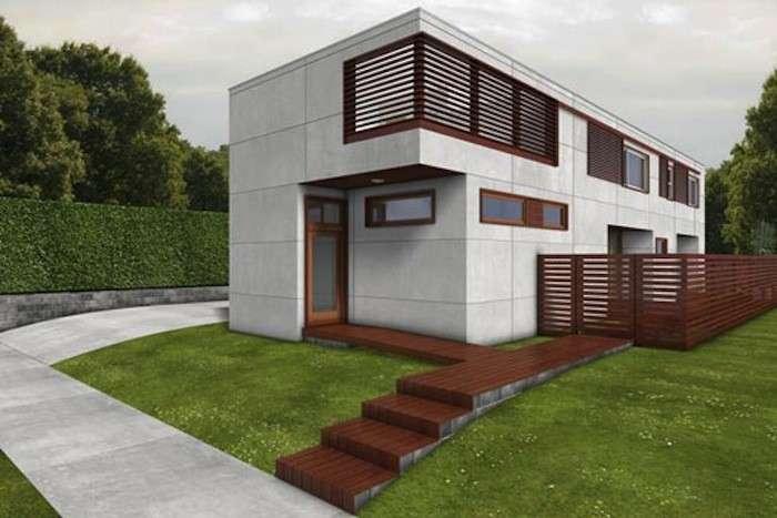 Casa ecologica con gradini di accesso